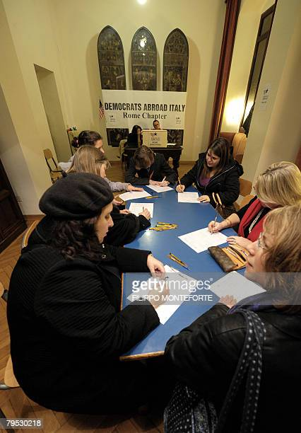 Citizens fill their ballots at a polling station in downtown Rome, February 5 set by Democrats party supporters for the Democratic Primary election...