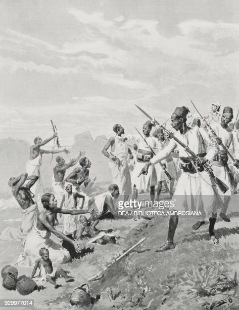 Citizens from the Tigray region bordering Abyssinia begging for food Ethiopia drawing by Fortunino Matania from L'Illustrazione Italiana Year XXVI No...