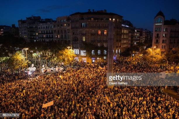 Citizens gather to protest against imprisonment of two key members of the Catalan independence movement on October 17 2017 in Barcelona Spain A judge...