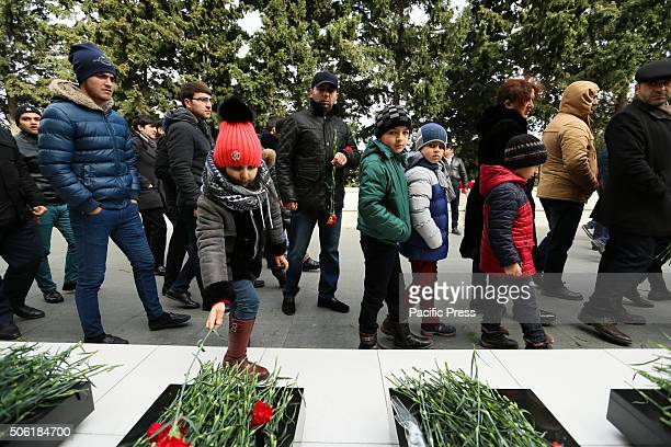 Citizens of Baku visits the Alley of Martyrs a cemetery and memorial dedicated to those killed by Soviet troops during the 1990 Black January...
