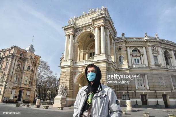 Citizens of Odessa walk in masks during quarantine in Odessa, Ukraine on March 29, 2020.