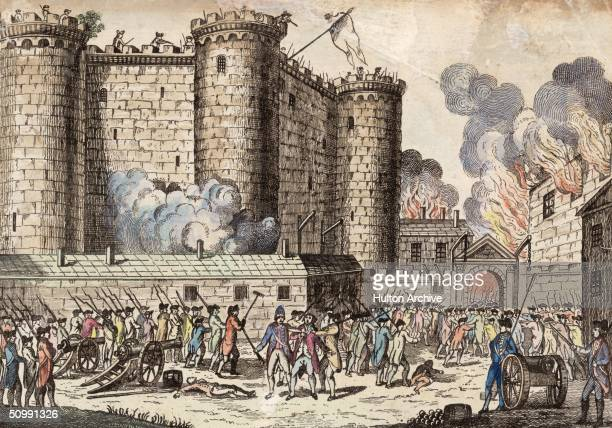 Citizens of Paris headed by the National Guards storm the Bastille prison in an event which has come to be seen as the start of the French Revolution...