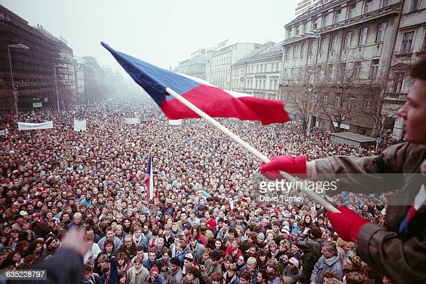 Citizens of Prague Czechoslovakia turn out by the thousands in November 1989 to protest the Communist regime led by General Secretary Milos Jakes...
