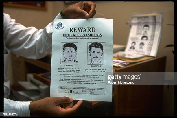 Citizens Police Liaison Comm. Wanted poster sketching 2 men, suspects in 1 of random murders in internecine violence.