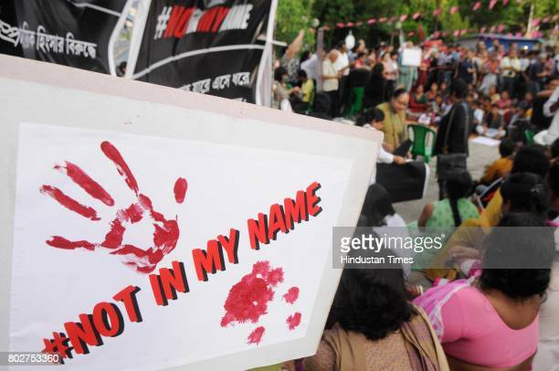 Citizens protest named 'Not In My Name' against recent lynching incidents at Madhusudan Mancha on June 28 2017 in Kolkata India