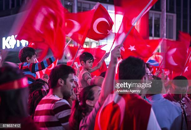 Citizens stage a protest against Parallel State/Gulenist Terrorist Organization's failed military coup attempt and show solidarity with the Turkish...