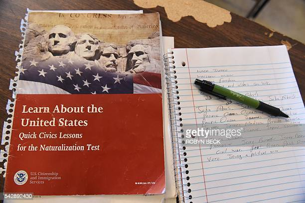 Citizenship test review booklet and notes are seen during a citizenshipt test prearation class in Perris, California, June 16, 2016. The 11 million...