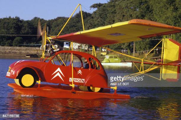Citroen 2CV converted into hydroplane on September 7 1986 in Chateaubriand France