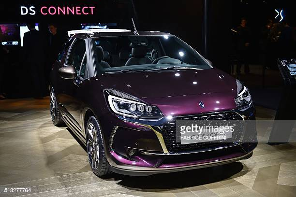 A Citroen DS 3 Cabrio car model is displayed at the stand of French carmaker during the press day of the Geneva Motor Show on March 2 2016 in Geneva...
