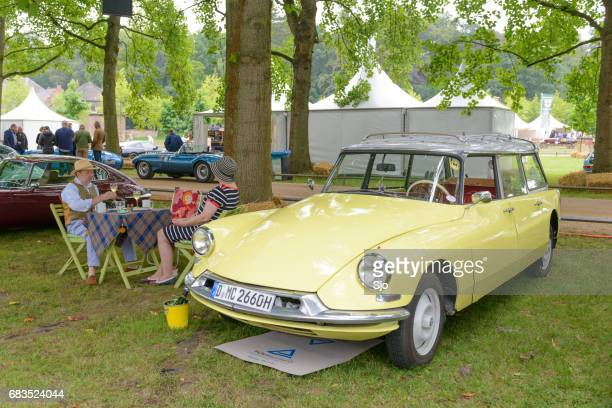 citroen ds break station wagon with people having a picnic - citroën ds stock photos and pictures
