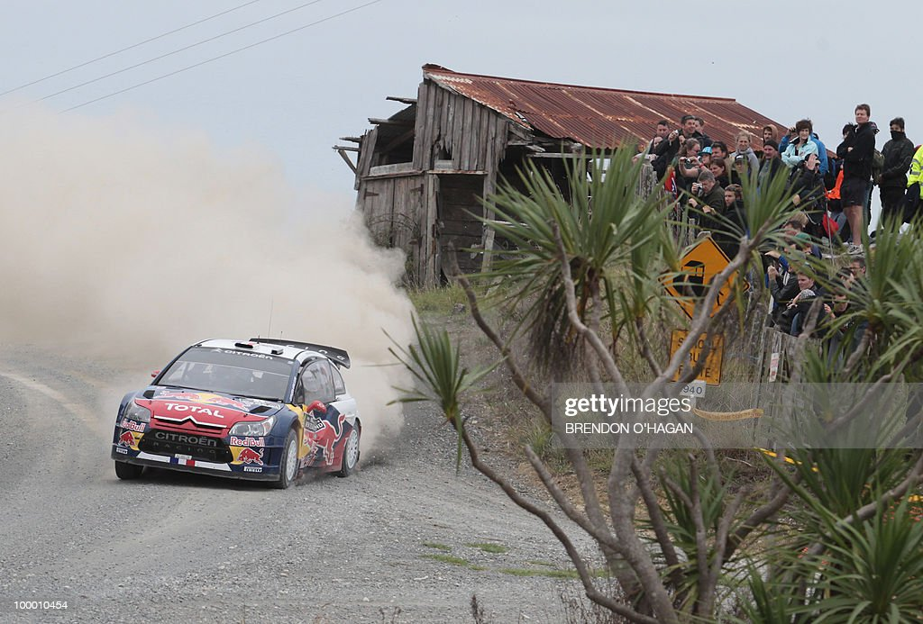 Citroen C4 driver Sebastien Loab of France and co driver Daniel Elena drive during day 1 of the rally of New Zealand in Auckland on May 7, 2010. Rally of New Zealand gets underway with Finnish driver Mikko Hirvonen hoping to close the gap on defending world champion Sebastien Loeb, who has won the last three lega of the championship. AFP PHOTO/Brendon O