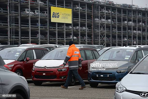 Citroen cars destined for export overseas stand parked and waiting to be loaded onto ships on January 22 2014 in Bremerhaven Germany Bremerhaven is...