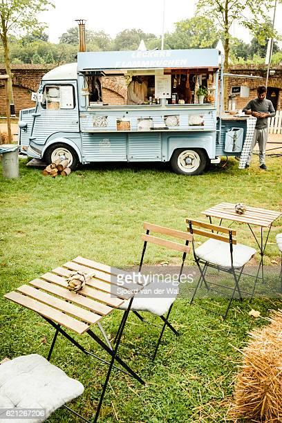 Citroen HY classic panel van food truck in a field