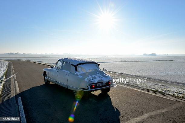citroen ds in winter - citroën ds stock photos and pictures