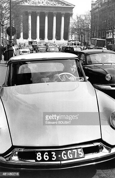 Citroen DS rue Royale in front the the Madeleine Paris France
