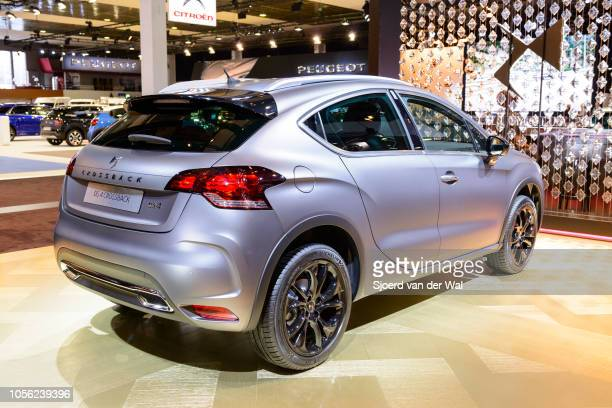 Citroën DS 4 Crossback compact crossover SUV hatchback car on display at Brussels Expo on January 13, 2017 in Brussels, Belgium. DS Automobiles is...