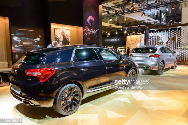 Citroën DS 5 luxury crossover MPV and Citroën DS 4 Crossback compact crossover SUV cars on display at Brussels Expo on January 13, 2017 in Brussels,...