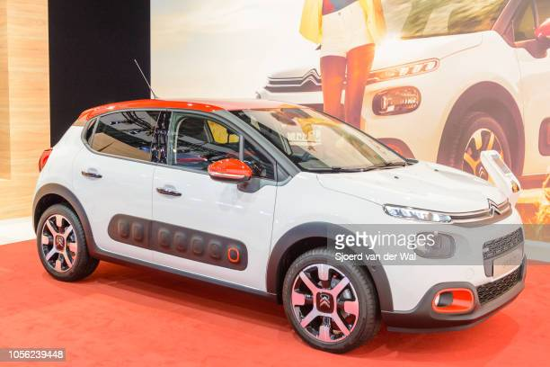 Citroën C3 compact hatchback car on display at Brussels Expo on January 13, 2017 in Brussels, Belgium. The third generation of the Citroen C3 is...