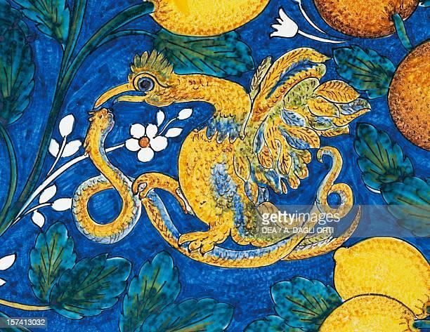 Citrus fruit flowers and birds on a blue background decorative detail table maiolica enamelled lava stone Salvatore Gurreri manufacture Caltagirone...