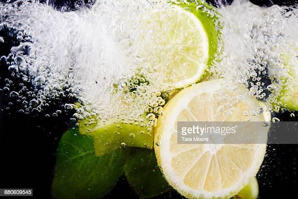 citrus fruit shot underwater