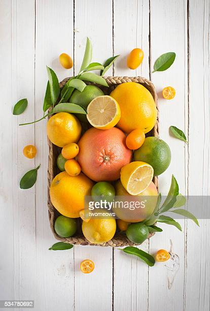 citrus fruits family on rustic white wooden background. horizontal view. text space images. - citrus fruit stock pictures, royalty-free photos & images