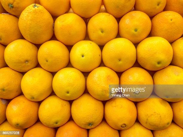 citrus fruits on farmer's market - navel orange stock photos and pictures
