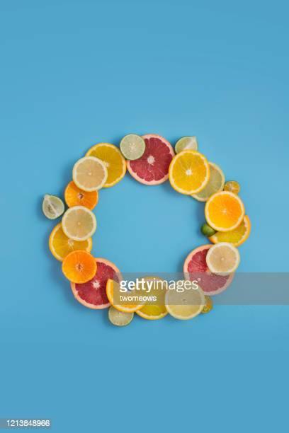 citrus fruits text space image. - fruit exotique photos et images de collection