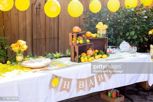 citrus party table - baby shower stock pictures, royalty-free photos & images