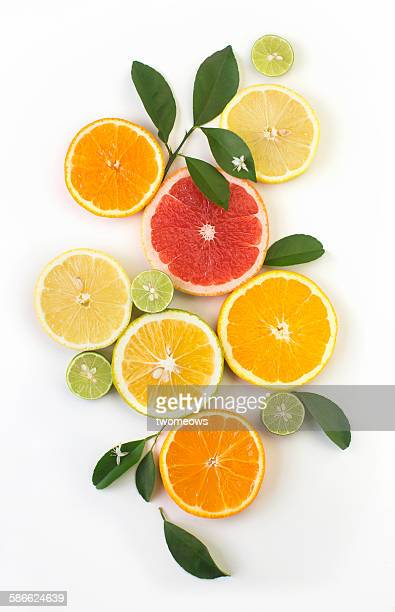 Citrus slice on white background.