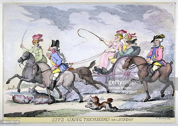 'Cits Airing Themselves on a Sunday 1809 London citizens riding either in a carriage or on horseback the couple of the left gallop over a pair of...