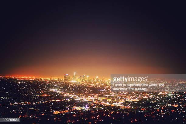 citscape at night - los angeles città foto e immagini stock
