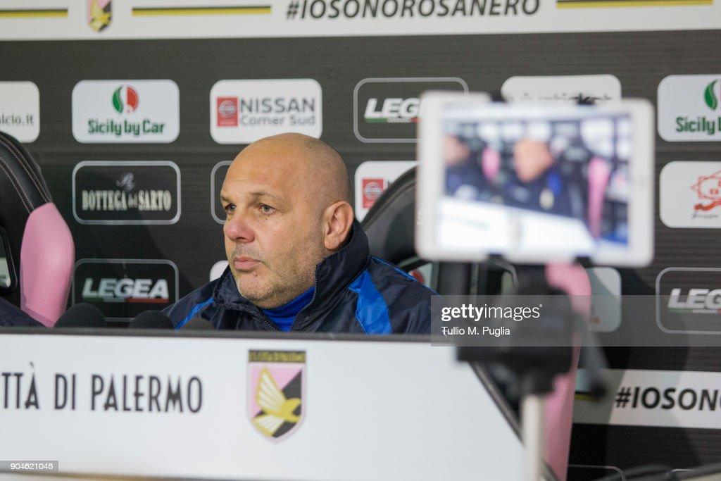US Citta Di Palermo head coach Bruno Tedino attends a press conference on January 12, 2018 in Palermo, Italy.
