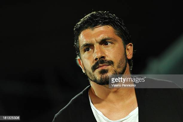 Citta di Palermo head coach Gennaro Ivan Gattuso looks on prior to the Serie B match between AC Spezia and US Citta di Palermo at Stadio Alberto...