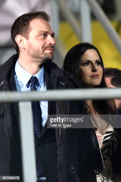 Citta' di Palermo new President Paul Baccaglini and his girlfriend Thais Souza Wiggers look on during the Serie A match between US Citta di Palermo...