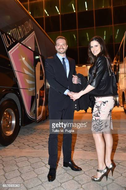 Citta' di Palermo new President Paul Baccaglini and Thais Souza Wiggers arrive before the Serie A match between US Citta di Palermo and AS Roma at...