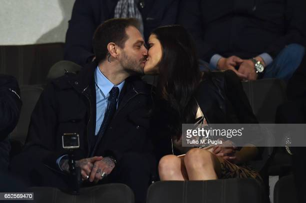 Citta' di Palermo new President Paul Baccaglini kisses his girlfriend Thais Souza Wiggers during the Serie A match between US Citta di Palermo and AS...