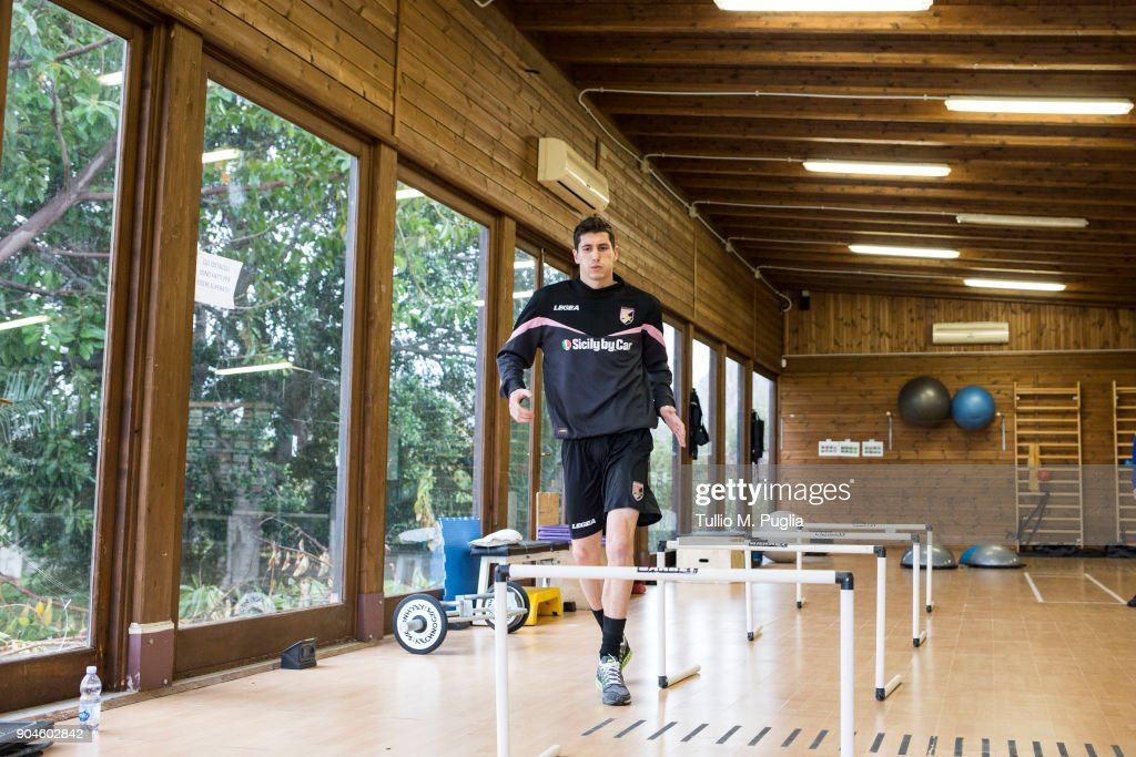 US Citta Di Palermo new signing Stefano Moreo attends a training session on January 12, 2018 in Palermo, Italy.