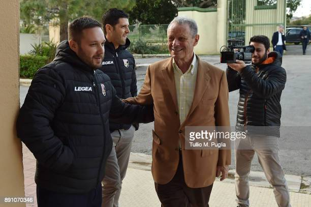 Citta di Palermo owner Maurizio Zamparini and Head of Press Office Andrea Siracusa look on at Carmelo Onorato training center on December 12 2017 in...