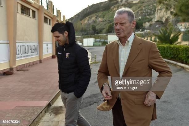 Citta di Palermo owner Maurizio Zamparini and Team Manager Vincenzo Todaro look on at Carmelo Onorato training center on December 12 2017 in Palermo...