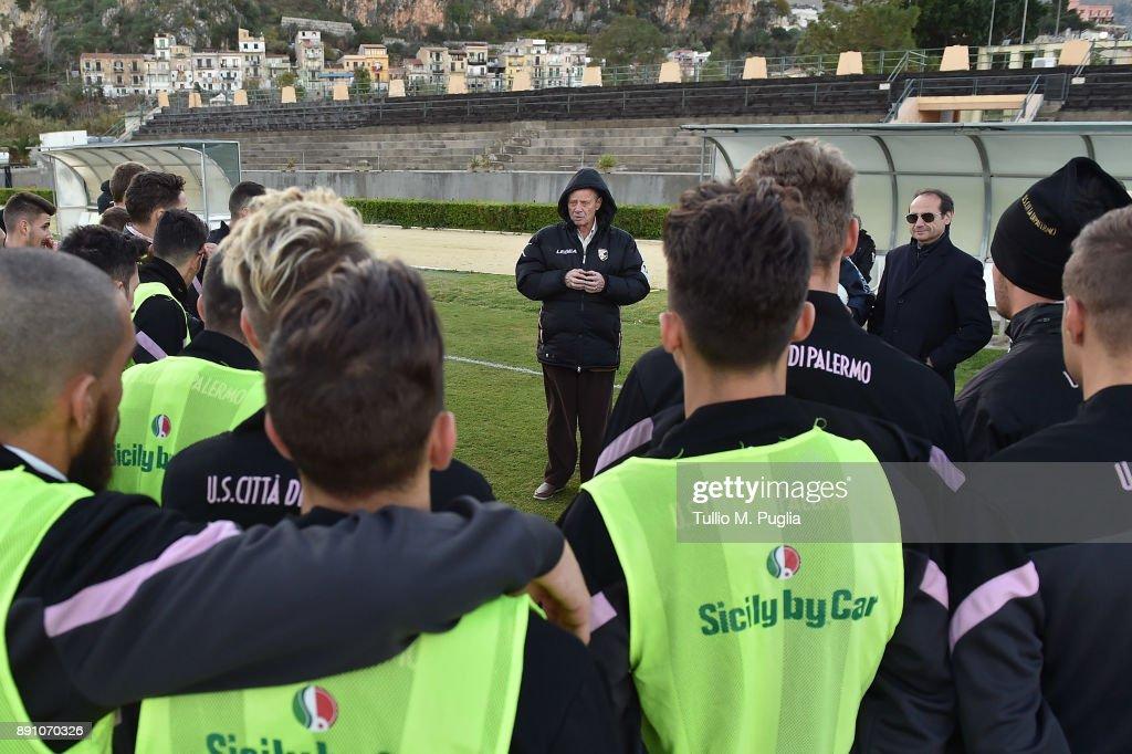 US Citta di Palermo Owner Maurizio Zamparini Meets Team's Players