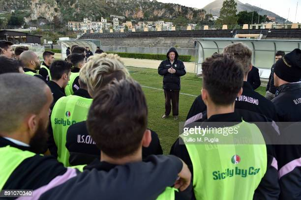 Citta di Palermo owner Maurizio Zamparini meets team's players at Carmelo Onorato training center on December 12 2017 in Palermo Italy