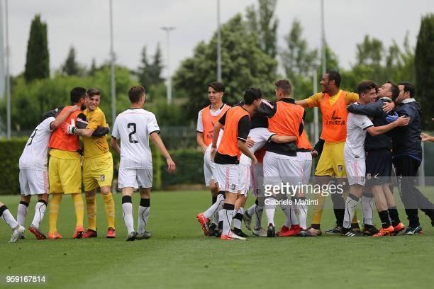 Citta' di Palermo players celebrate a goal scored by Kevin Cannavo' during the SuperCoppa primavera 2 match between Novara U19 and US Citta di...