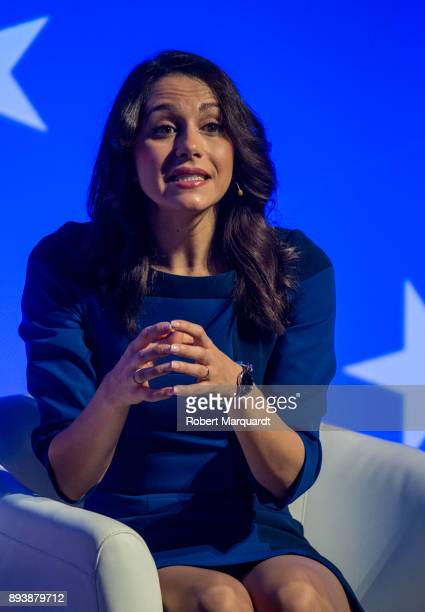 Citudans candidate Ines Arrimadas attends a rally for the Citudans policital party on December 16 2017 in Barcelona Spain The Spanish national...