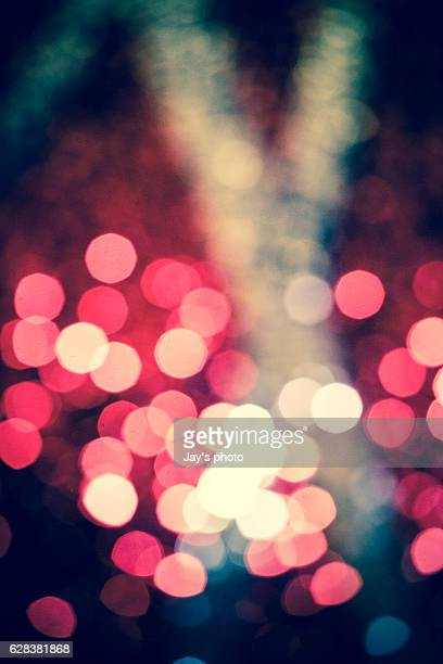 City abstract bokeh background at night