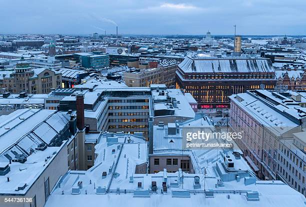 city after snowfall. - helsinki stockfoto's en -beelden