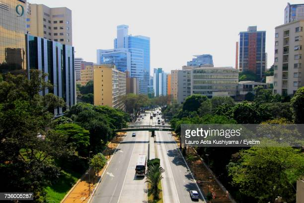 city against clear sky - lauro stock pictures, royalty-free photos & images