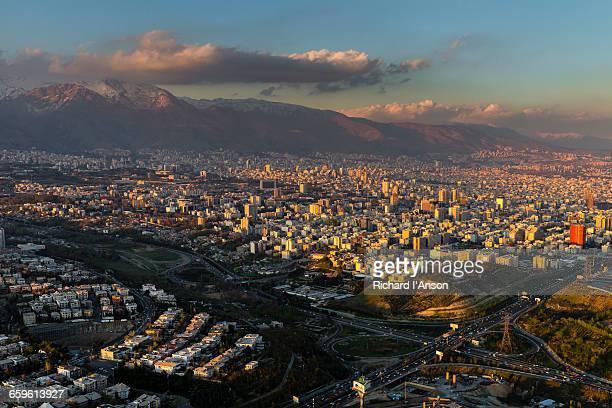 city & alborz mountain range from milad tower - テヘラン市 ストックフォトと画像
