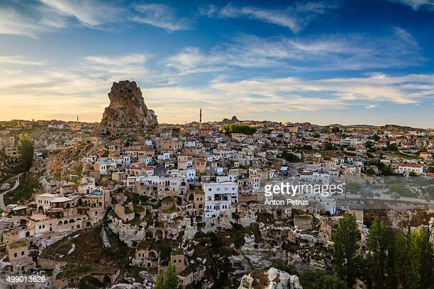 city and fortress ortahisar, cappadocia, turkey - anton petrus stock pictures, royalty-free photos & images