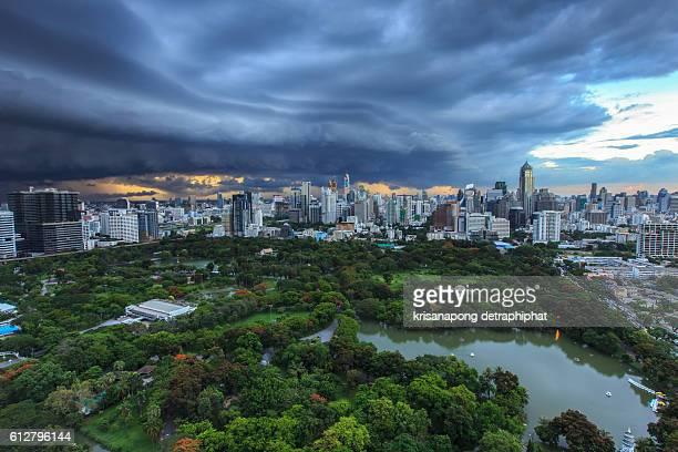 City and rainy storm