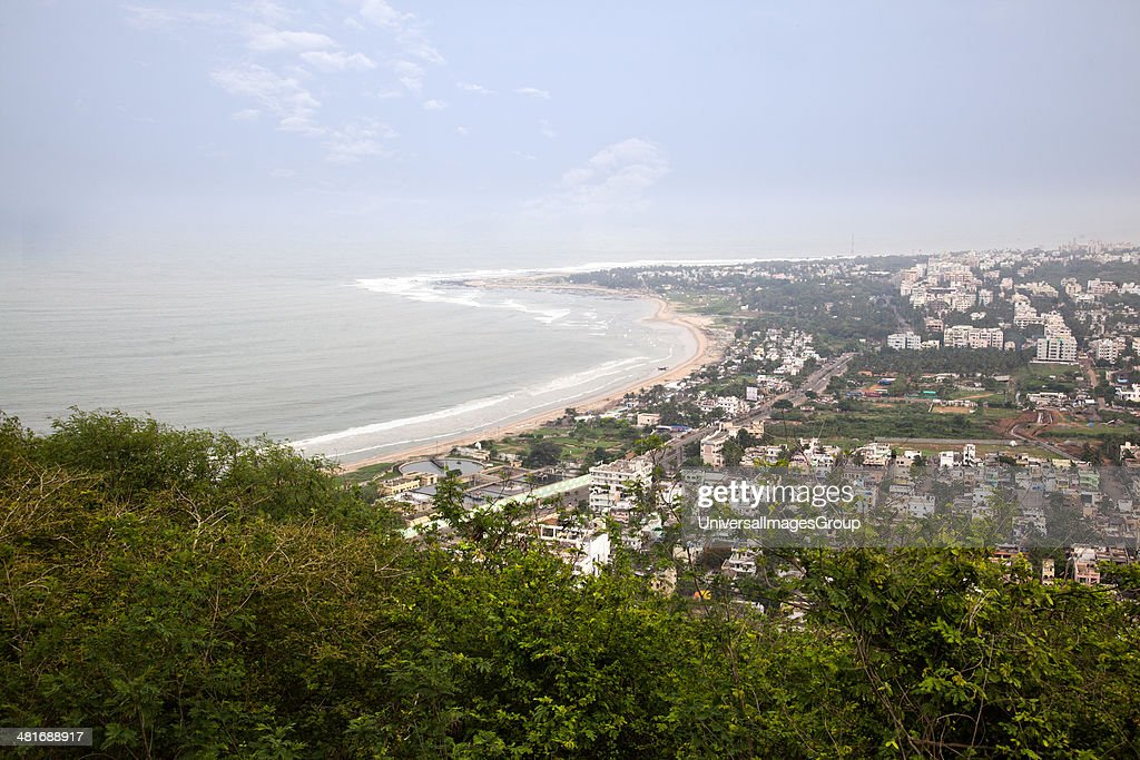 City and the coastline viewed from Kailasagiri Park, Visakhapatnam, Andhra Pradesh, India : ニュース写真